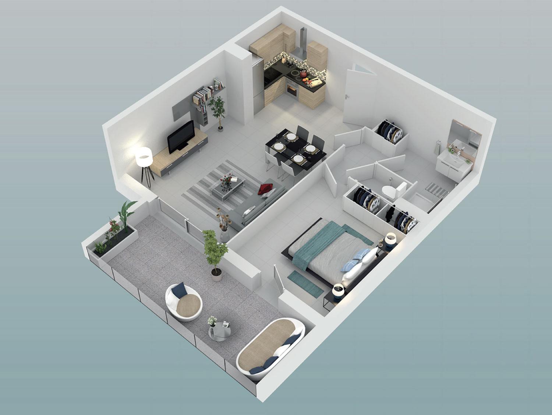 plan appartement avec terrasse